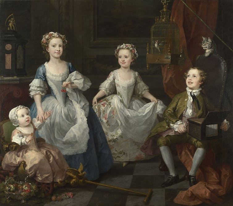 Painting of four children.
