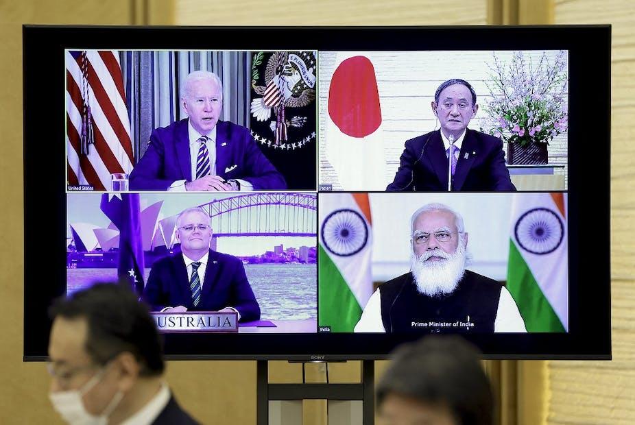 Réunion virtuelle entre le président américain Joe Biden et les premiers ministres australien Scott Morrison, japonais Yoshihide Suga et indien Narendra Modi, le 12 mars 2021.