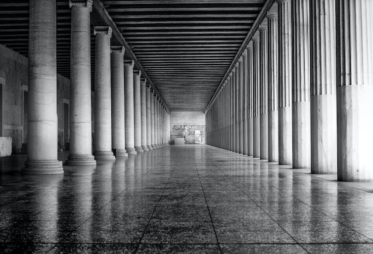 Black and white view of the Stoa of Attalos, Athens, Greece.