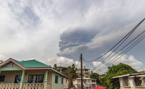 Clouds of ashes over the island of St Vincent after eruption of La Soufriere volcano.