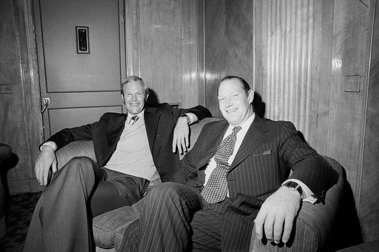 Kerry Packer and Tony Greig launching World Series Cricket at a press conference in London in 1978.