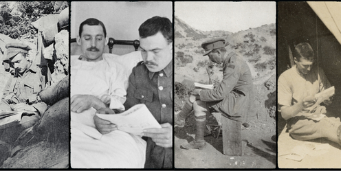 Australian soldiers reading magazines in various settings such as trench and hospital