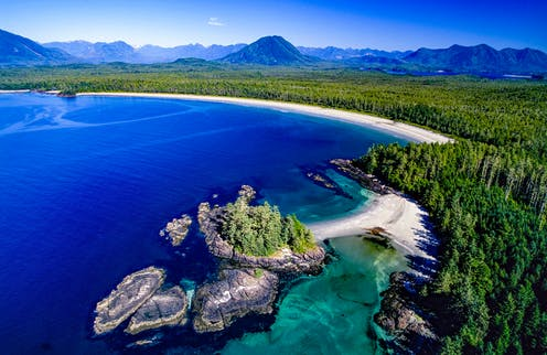 Aerial view of Clayoquot Sound, British Columbia.