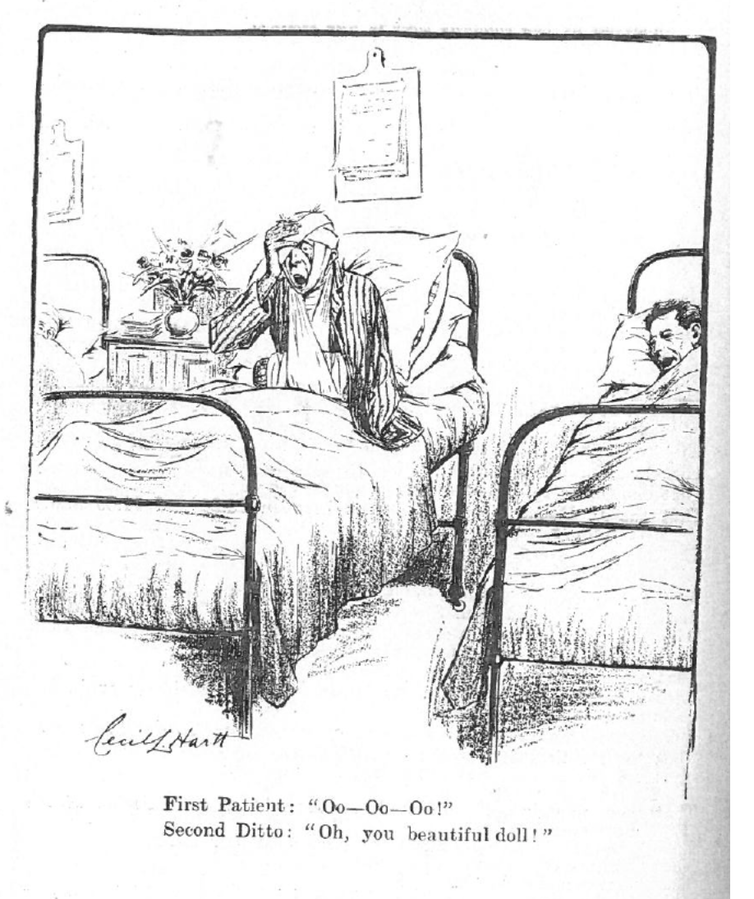 Cartoon of two soldiers in hospital beds.