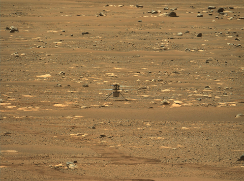 A drone on a Martian landscape