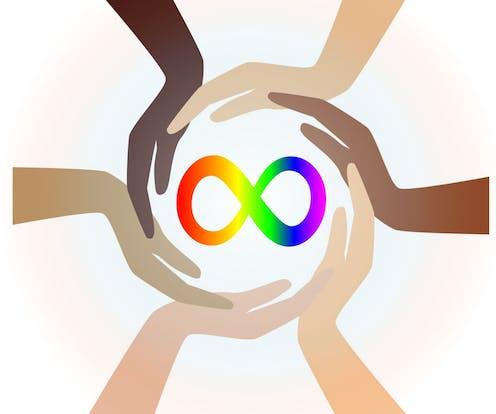 Hands encircling rainbow infinity neurodiversity symbol