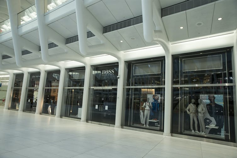 Inside Oculus mall at World Trade Center, New York, which is closed due to pandemic lockdown.