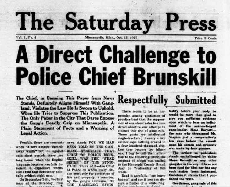 A portion of the front page of The Saturday Press, with headline