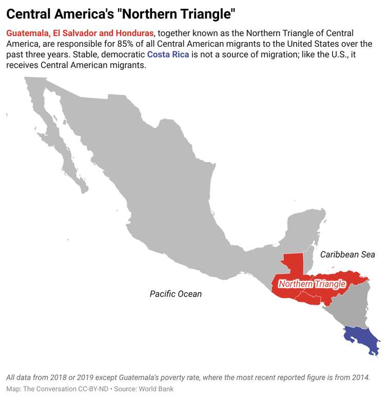 A map of Central America that highlights the 'Northern Triangle' consisting of Guatemala, El Salvador, and Honduras.