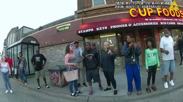 Bystanders watching the murder of George Floyd, including Darnella Frazier, who made a video of the murder.