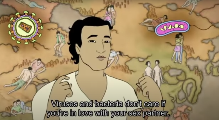 Cartoon image of a young man with a map of sexual partners behind him. The words underneath say, 'viruses and bacteria don't care if you're in love with your sex partner'.