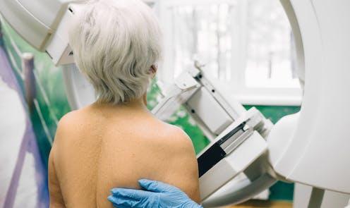 Older woman having mammogram