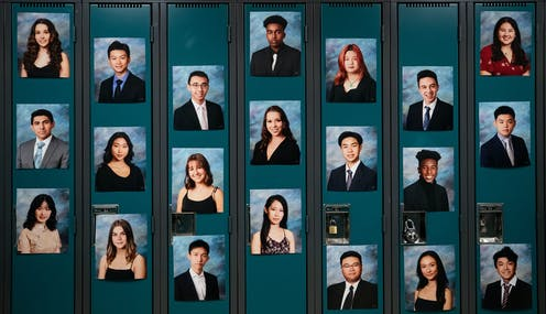 Photos of students on lockers.