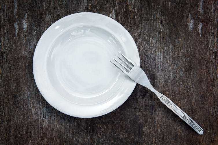 An empty plate with a fork.