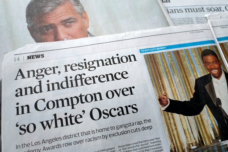 Newspaper clipping that says 'Anger, resignation and indifference in Compton over 'so white' Oscars'