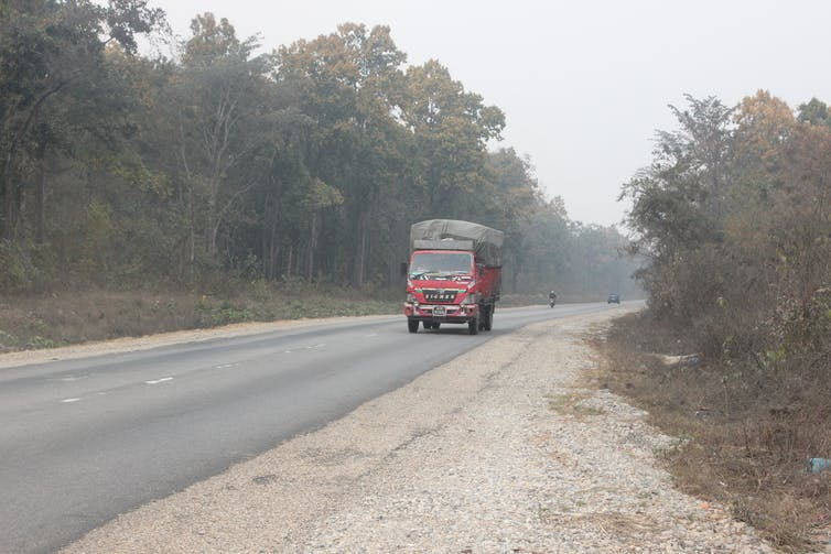 Bus on road with forests on either side.
