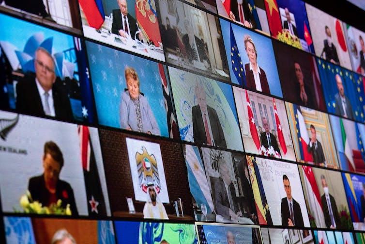 Tela mostrando os feeds de vídeo de cada líder mundial