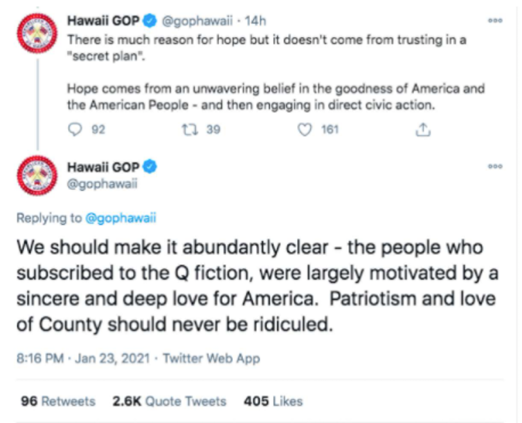 Screenshot of two tweets from the Hawaii Republican Party, one of which expresses sympathy for QAnon believers.
