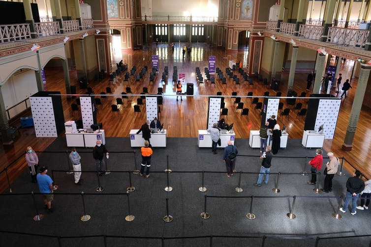 The mass vaccination hub at the Royal Exhibition Building in Melbourne