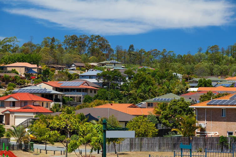 Homes with solar panels on roof