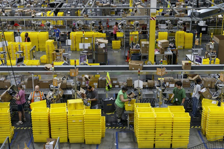Inside an Amazon fulfilment centre in Chattanooga, Tennessee, August 2017.