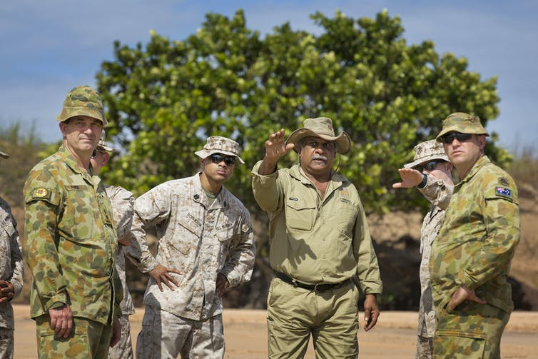 A Larrakia Elder advising army personnel