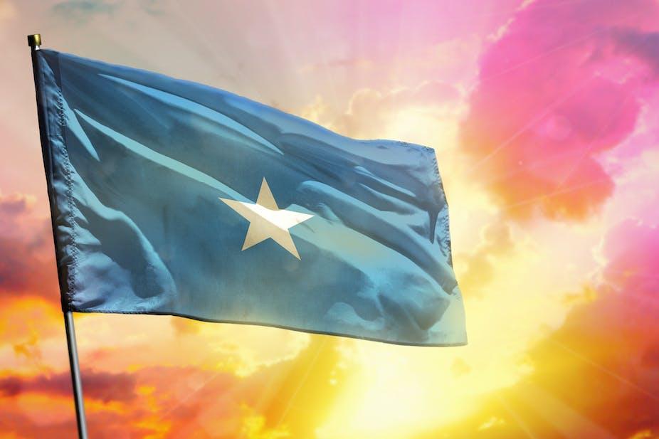 Somali flag with white star on blue background
