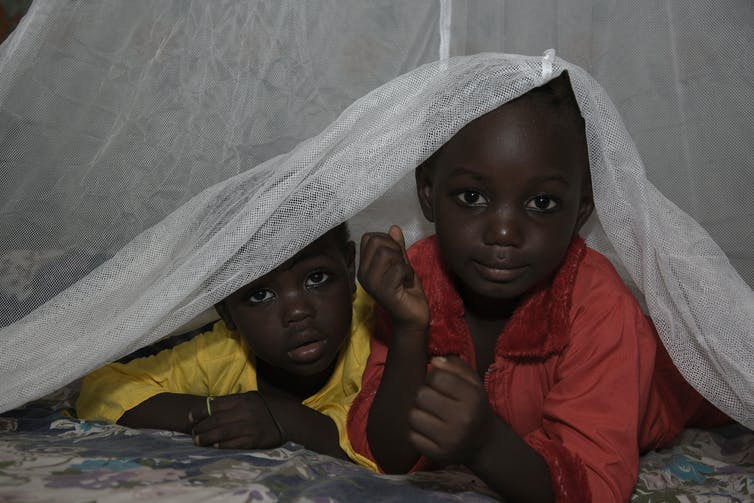 Deux enfants sous un moustiquaire au Nigeria.