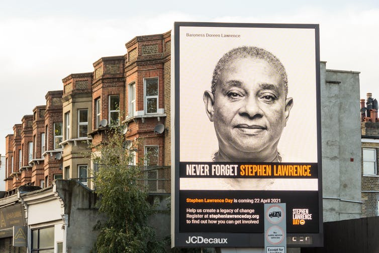 An electronic mural commemorates Stephen Lawrence in London