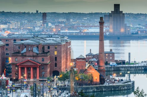 An aerial view of the Albert Docks in Liverpool