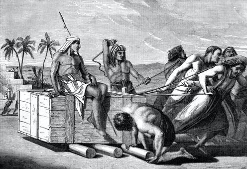 Depiction of ancient Egyptians whipping Hebrew slaves