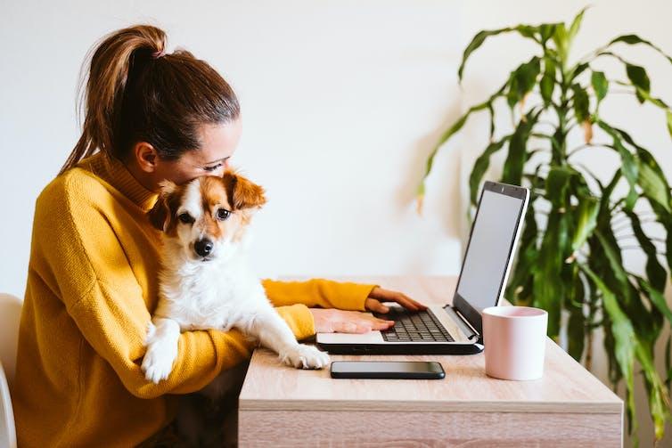 Une femme travaillant devant son ordinateur avec son chien