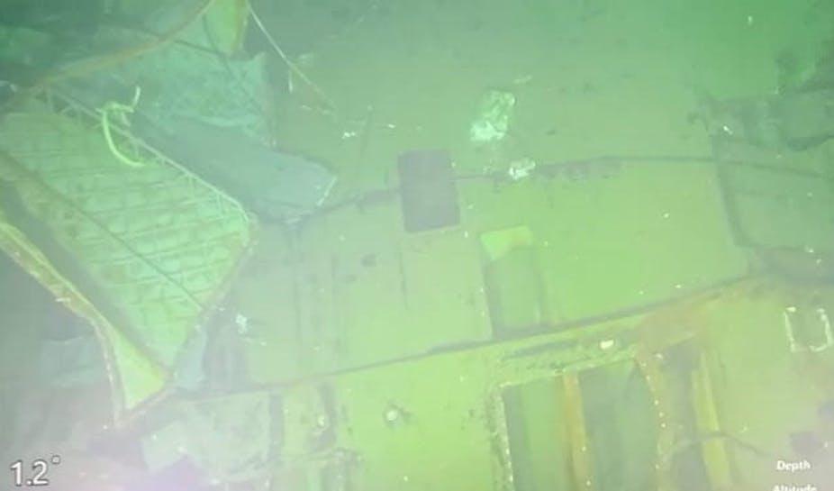 Submarine wreckage on ocean floor