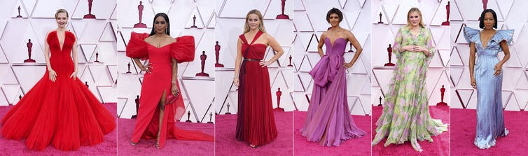 women in fancy dresses on red carpet