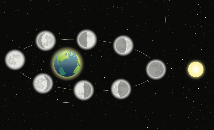 Diagram showing the moon's phases as it orbits Earth.