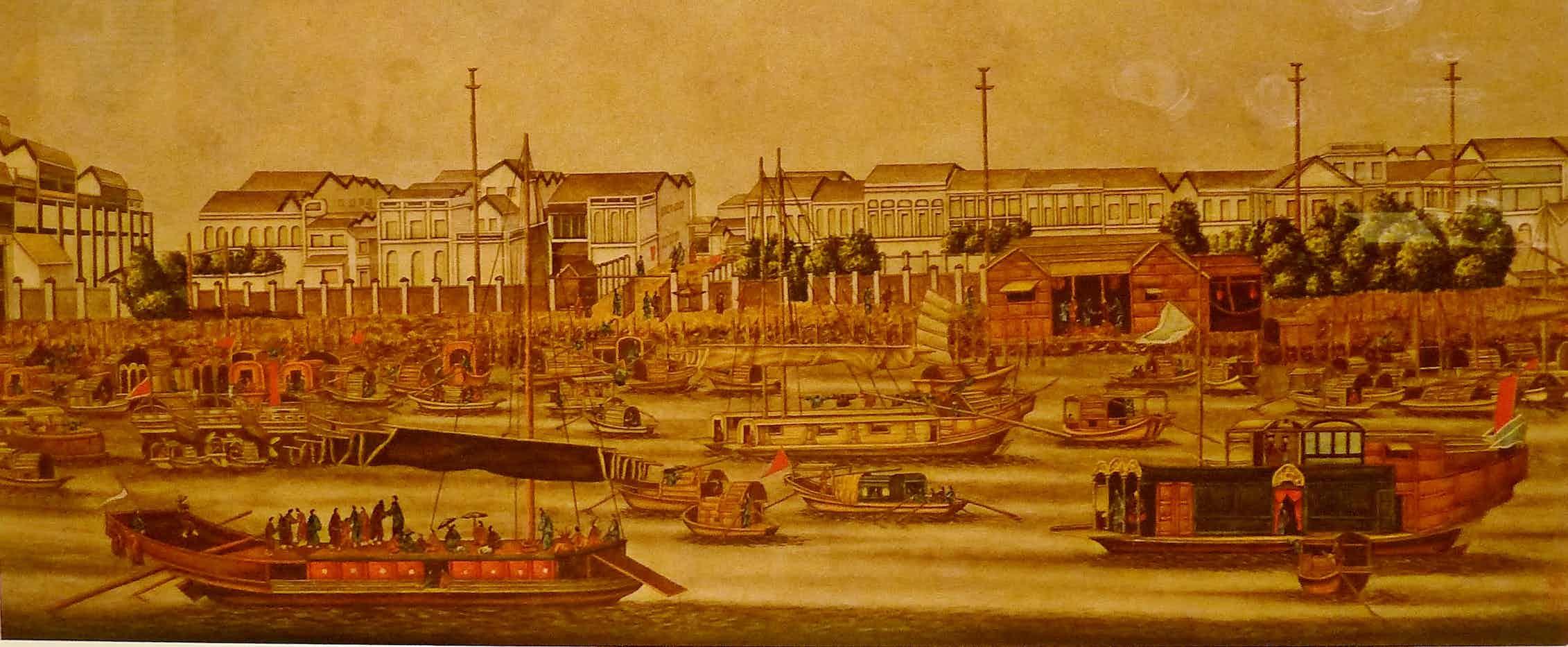Las fábricas de Cantón durante la primera guerra del opio (1840, Museo de la Compañía de la India).Wikimedia Commons