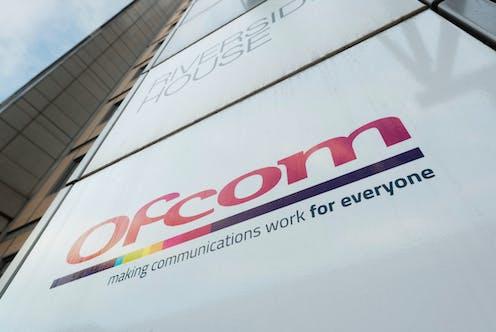 Sign outside the headquarters of broadcasting regulator Ofcom at Riverhouse House building on Southwark Bridge Road in London, UK.
