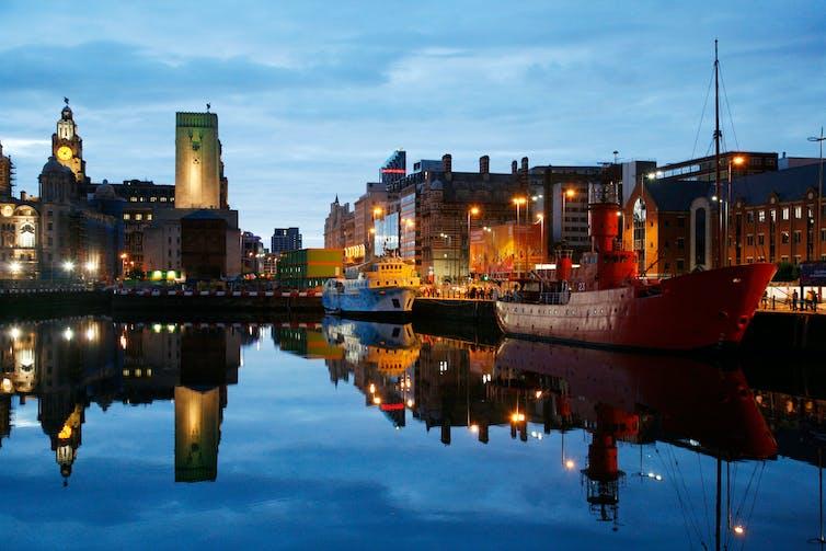 Albert Dock in Liverpool at twilight