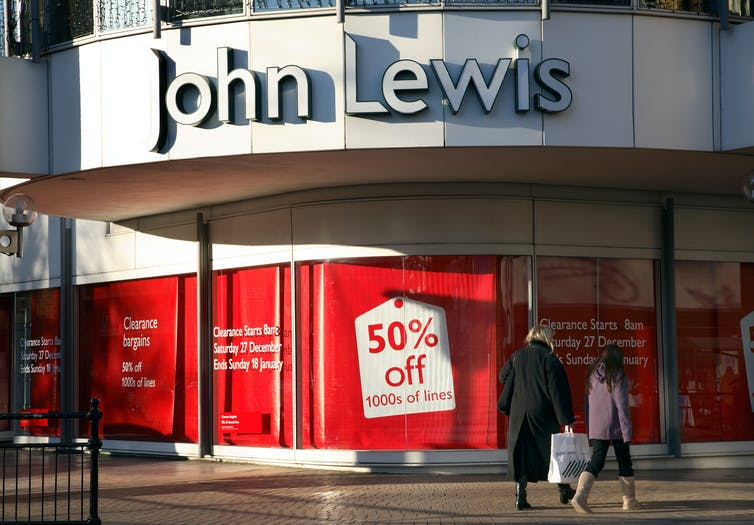 John Lewis frontage with a big sale sign in the window