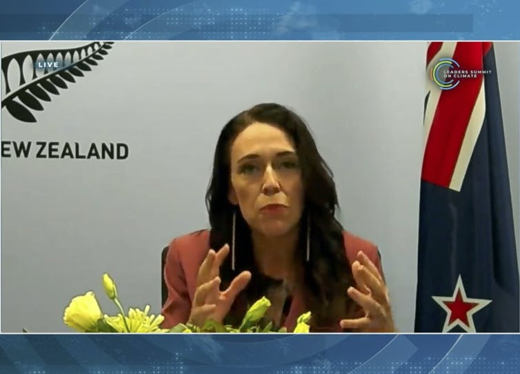 Jacinda Ardern speaking on a video link