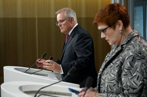 Scott Morrison and Marise Payne during a press conference