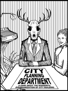 A deer head in a suit.