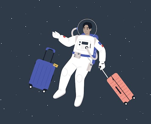 A drawing of a person in a space suit floating with two stuitcases.