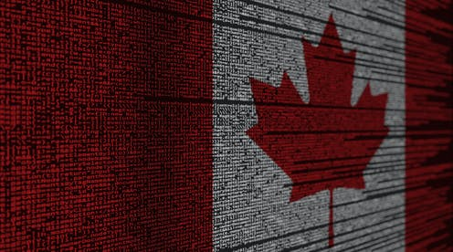 Canadian flag constituted of computer code