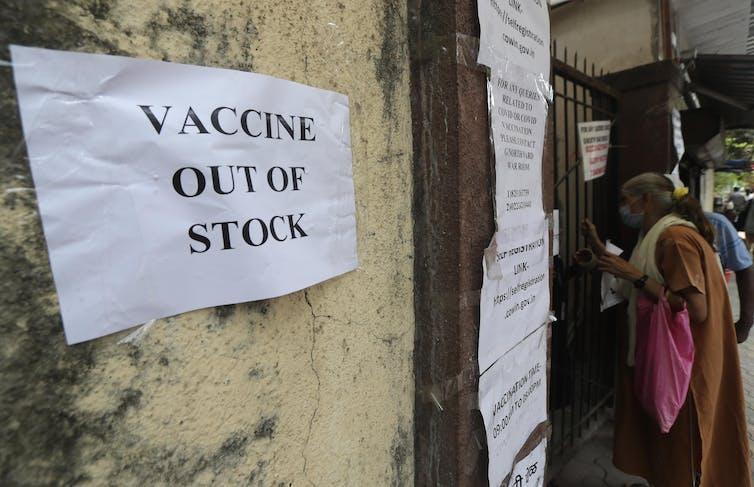 Vaccine shortage in India.