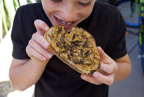 Kid eating peanut butter toast with insects