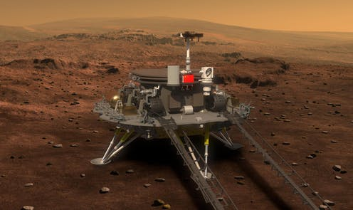 A computer generated artist's impression of what the Mars rover and lander would look like
