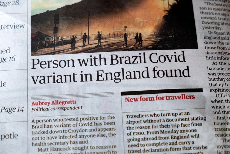 Headline in a newspaper saying a person with the Brazil COVID variant has been found in England.