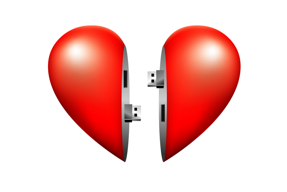 Two halves of a heart connected via USB