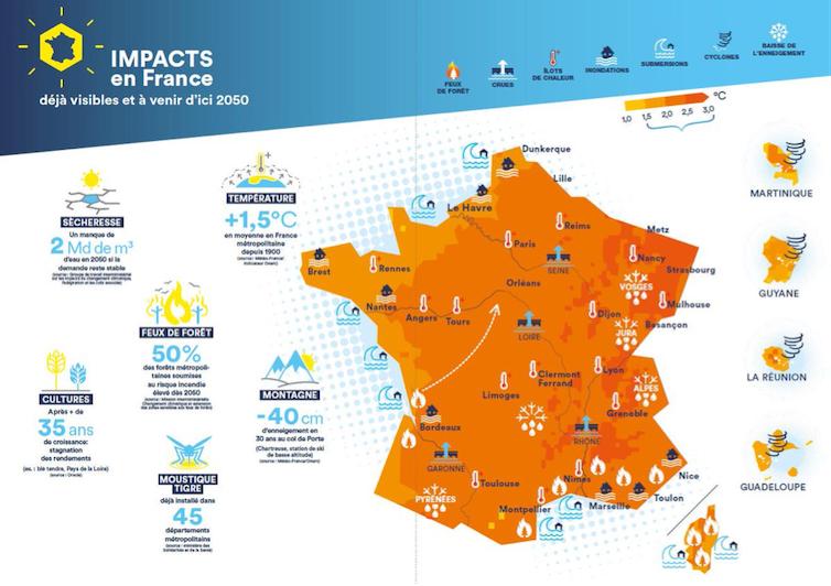 Carte des impacts du changement climatique déjà visibles et à venir d'ici 2050pour la France. Ministère de la Transition écologique, CC BY-NC-ND
